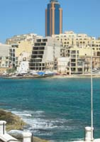 Photograph of the Portomaso Tower & Spinola Bay, part of St Julians Bay